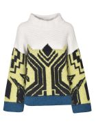 Circus Hotel Knitted Sweater - White/Multicolor