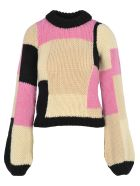 Ganni Hand Knit Wool Puff Pullover - MULTICOLOURED