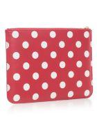 Comme des Garçons Wallet Wallet Large Dots Printed Leather Line - Red