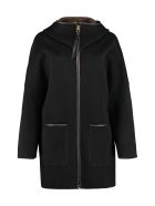 Agnona Hooded Cashmere Coat - black