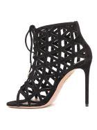 Aquazzura Black Suede Graphiste Sandals - Black
