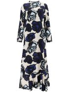Marni Satin Dress Roma Print - IVORY (Blue)