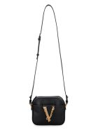 Versace Virtus Leather Crossbody Bag - black