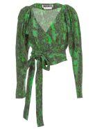 Rotate by Birger Christensen Nancy Top L/s V Neck W/belt - Stone Green Comb