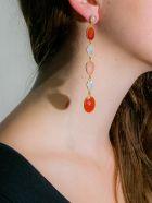 Bianca Baykam Crystal Detail Earrings - Rosa Arancio Bianco