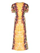 Saloni Lea Printed Silk Dress - Yellow