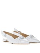 Francesco Russo White Leather Knot Ballerina Shoes - White
