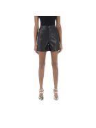 Nanushka Vegan Leather Shorts Leana - BLACK