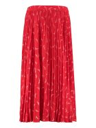 MICHAEL Michael Kors Printed Pleated Skirt - Crimson