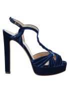 Francesco Russo Velvet Sandals - Navy Blue