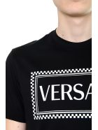 Versace White Eco Sustainable Cotton T-shirt With 90s Vintage Logo - Black