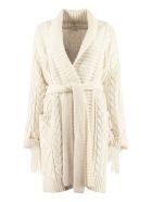 Parosh Fringed Knit Coat - panna