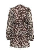 SEMICOUTURE Animalier Print Mini Dress - Brown