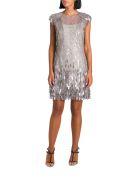 Alberta Ferretti Tulle Short Dress With Metallic Trimmings - Argento