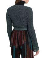 M Missoni Lurex Knit Shoulder Shrug With Ribbon - Verde