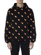 McQ Alexander McQueen Black Cotton Hoodie & All Over Print Sweatshirt - Black