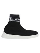 Miu Miu Miu Run Knit High Top Sneakers - BLACK + WHITE