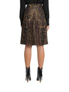 Burberry Pleated Midi Skirt With Leopard Print Motif - Marrone