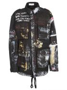 Faith Connexion Paint Splash Military Jacket - Black