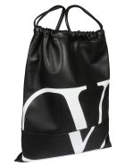 Valentino Logo Backpack - Oni Black White