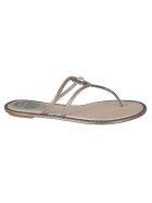 René Caovilla Spilla Flat Sandals - PINK-GREY SAT/LIGHT SILK