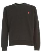 Ami Alexandre Mattiussi Cotton Sweatshirt Crew Neck W/logo Patch - Black