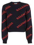 Balenciaga Logo Sweater - Navy Orange