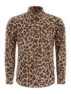 MSGM Leopard-printed Shirt With Logo - LEOPARDATO (Brown)