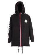 Moncler Charnier Padded Jacket W/hood And Written On Sleeve - Black