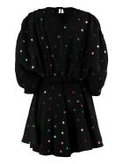 The Attico All Over Star Embroidered Dress - black
