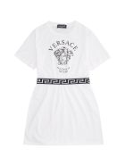 Young Versace Medusa Print Cotton Dress - White