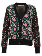 Marni Floral Knitted Cardigan - BLACK
