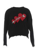 RED Valentino Logo Love Sweater - Black