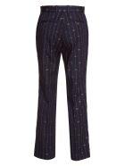 Gucci Pinstriped Gg Wool Silk Blend Cropped Pants - Blue