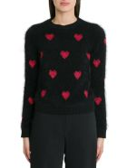 RED Valentino Lurex Hearts Intarsia Sweater - Nero