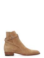 Saint Laurent Jodhpur Suede Ankle Boots - Beige