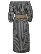Brunello Cucinelli Stripe Print Off-shoulder Dress - Nero