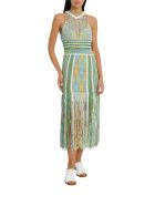M Missoni Knit Dress With Fring - Green