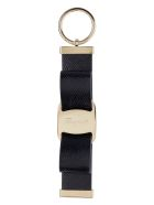 Salvatore Ferragamo Leather Keyring With Logo - black