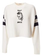 Miu Miu Not Nice Embroidered Sweater - Avorio