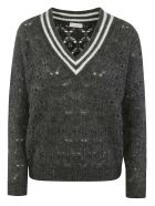 Brunello Cucinelli V-neck Pullover - Lead