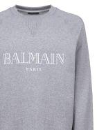 Balmain Logo Printed Sweater - Grigio bianco