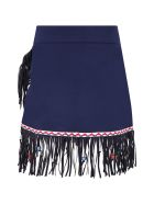 Stella Jean Blue Skirt For Girl With Fringes - Blue