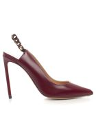 Francesco Russo Decollete Open Behind W/chain - Burgundy