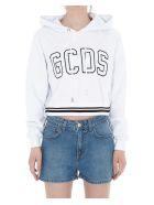 GCDS Crop Logo Hoodie - White