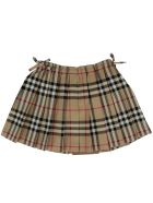 Burberry Mini Pearl Skirt - BEIGE CHECK