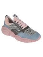 Moschino Mesh Detailed Metallic Sneakers - Pink/Light Blue