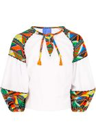 Stella Jean White Shirt For Girl With Colorful Details - White