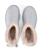 UGG Mini Bailey Bow Glitter And Silver Sheepskin Ankle Boots - Silver