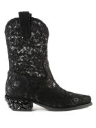 Laced Texan Boots in Nero
